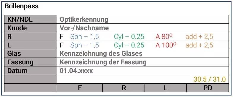 Brillenpass