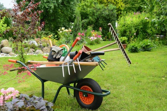 Bei der Gartenarbeit die Augen schützen.